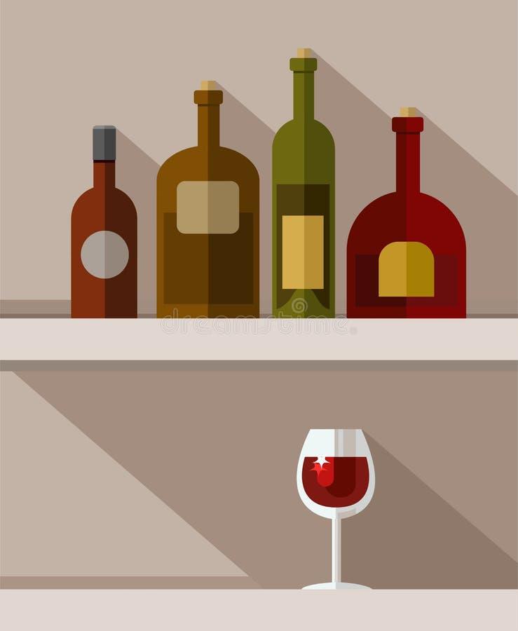 Μπουκάλια οινοπνευματωδών ποτών, γυαλί κόκκινου κρασιού, χρωματισμένες απεικονίσεις απεικόνιση αποθεμάτων