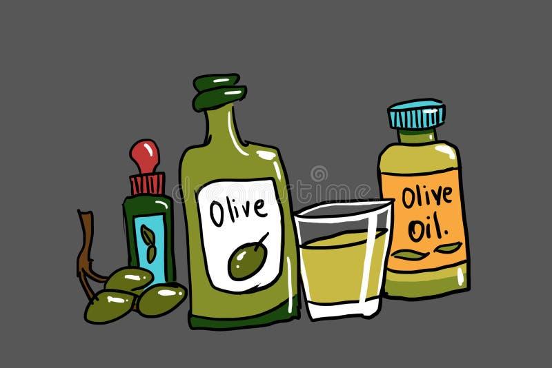 Μπουκάλια της απεικόνισης ελαιολάδου διανυσματική απεικόνιση