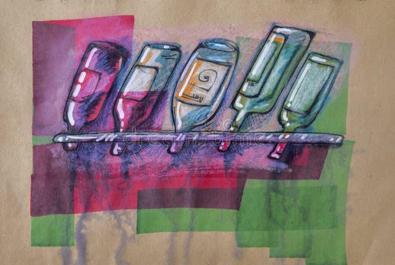 Μπουκάλια του οινοπνεύματος απεικόνιση αποθεμάτων