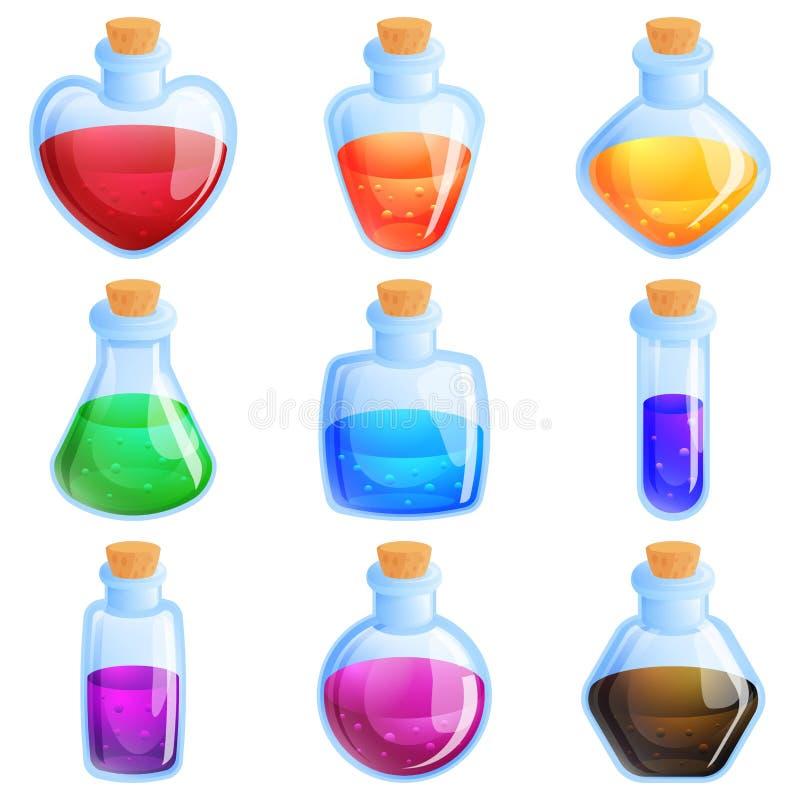 Μπουκάλια φίλτρων για την αντιστοιχία τρία παιχνίδι γρίφων διανυσματική απεικόνιση