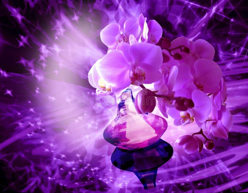 Μπουκάλι αρώματος με τα λουλούδια ορχιδεών στοκ φωτογραφία