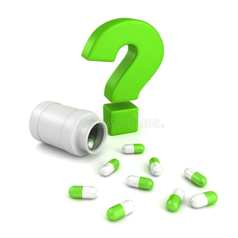 Μπουκάλι για τις ιατρικές ταμπλέτες χαπιών με το πράσινο ερωτηματικό διανυσματική απεικόνιση
