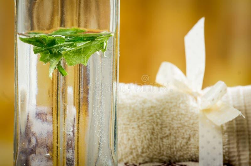 Μπουκάλι γυαλιού με τα φύλλα και τις πετσέτες στοκ φωτογραφία με δικαίωμα ελεύθερης χρήσης