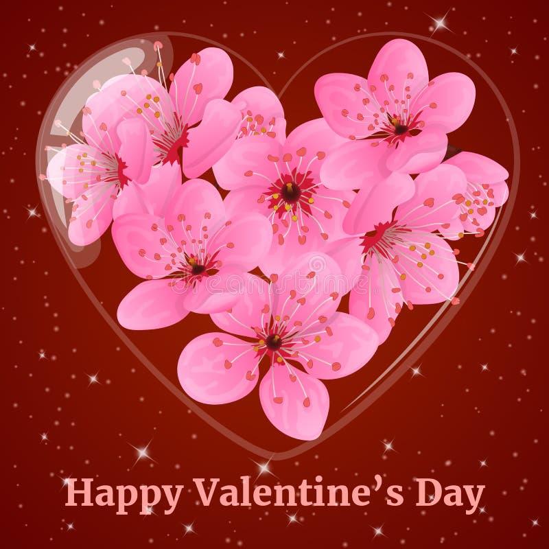 Μπουκάλι γυαλιού στη μορφή καρδιών με το άνθος δαμάσκηνων Ευχετήρια κάρτα για την ημέρα βαλεντίνων στο ύφος κινούμενων σχεδίων επ ελεύθερη απεικόνιση δικαιώματος