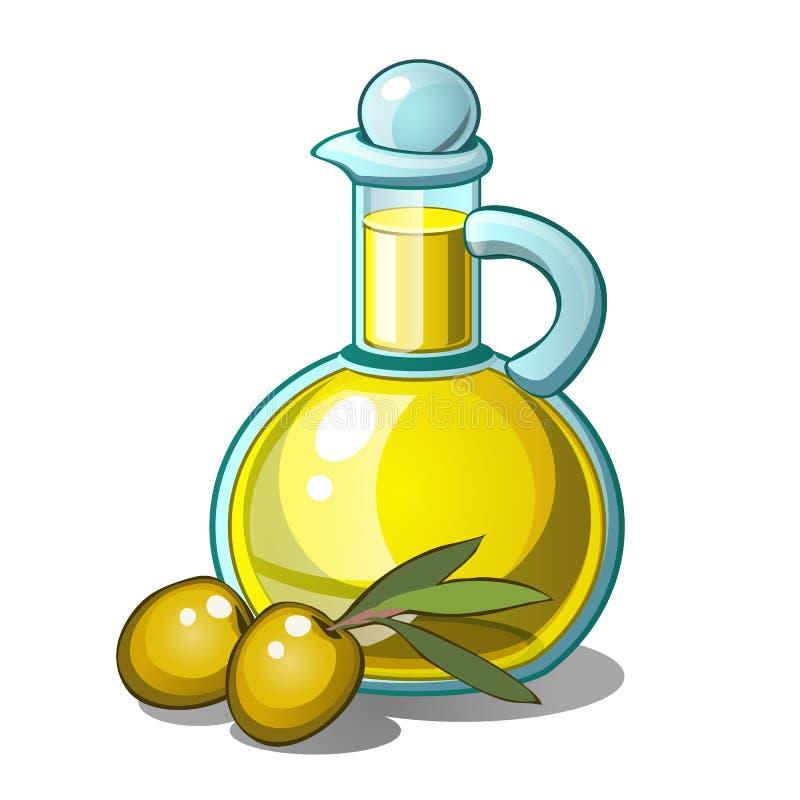 Μπουκάλι ελαιολάδου και δύο πράσινων ελιών με το φύλλο ελεύθερη απεικόνιση δικαιώματος