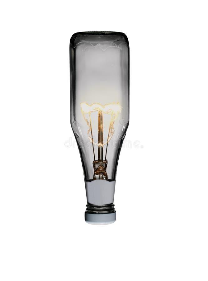 Μπουκάλι κέτσαπ με την ίνα λαμπών φωτός μέσα στοκ φωτογραφία