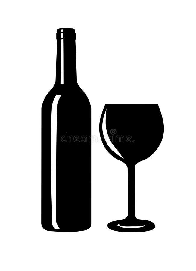 Μπουκάλι κρασιού και σκιαγραφία γυαλιού. διανυσματική απεικόνιση