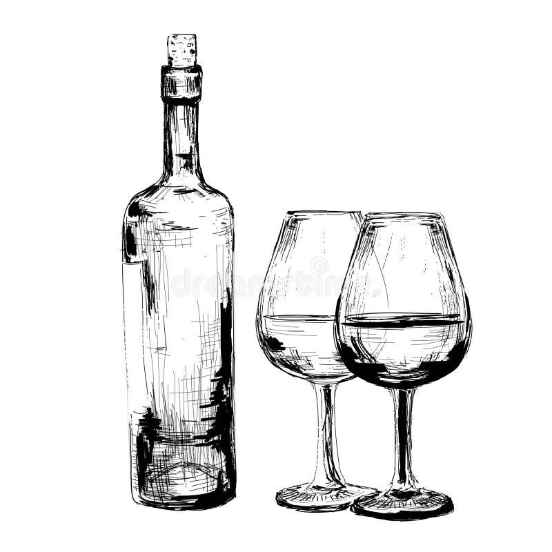 Μπουκάλι κρασιού και δύο γυαλιών διανυσματική απεικόνιση