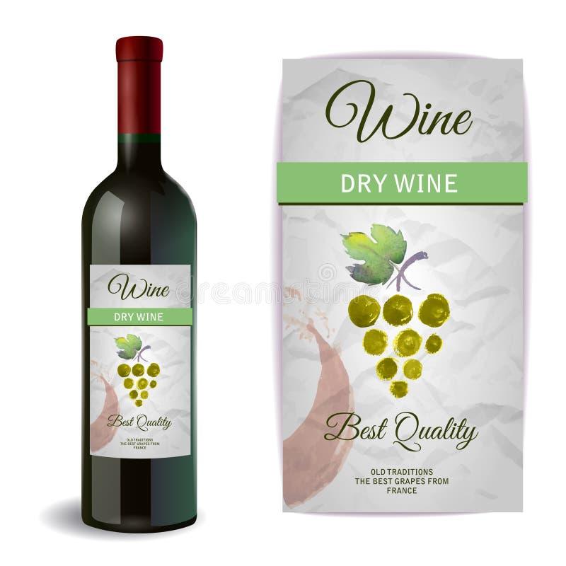 Μπουκάλι κρασιού με την ετικέτα απεικόνιση αποθεμάτων