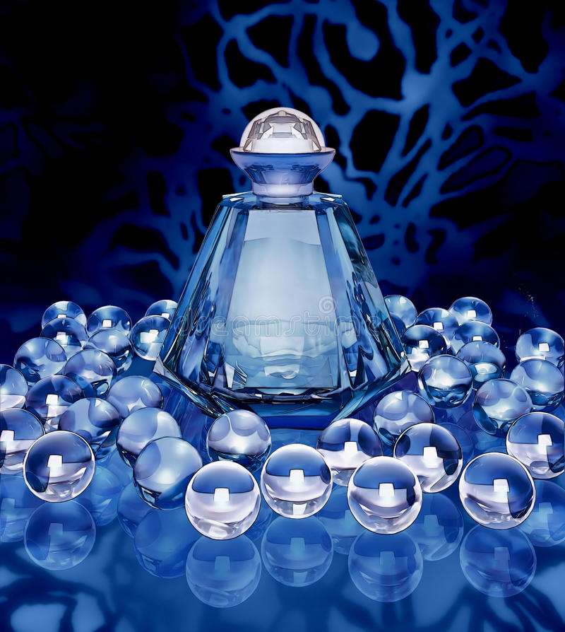Μπουκάλι κρυστάλλου των σφαιρών αρώματος και κρυστάλλου σε έναν σκούρο μπλε απεικόνιση αποθεμάτων