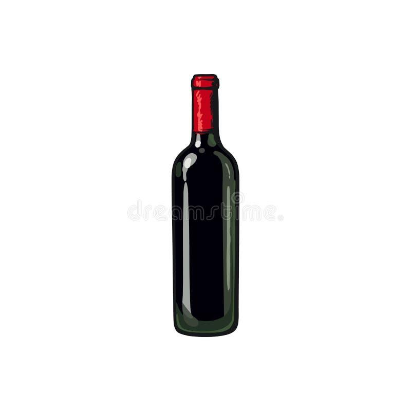 Μπουκάλι κόκκινου κρασιού, απομονωμένη διανυσματική απεικόνιση ύφους σκίτσων απεικόνιση αποθεμάτων