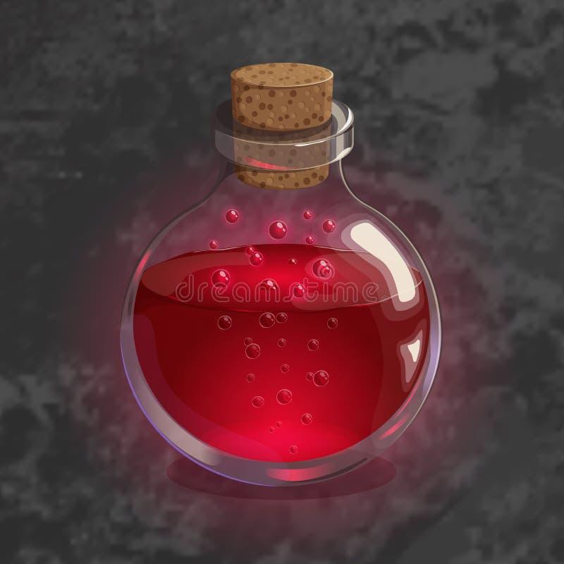 Μπουκάλι με την κόκκινη φίλτρο Εικονίδιο παιχνιδιών του μαγικού ελιξιρίου Φωτεινό σχέδιο για app το ενδιάμεσο με τον χρήστη διανυσματική απεικόνιση