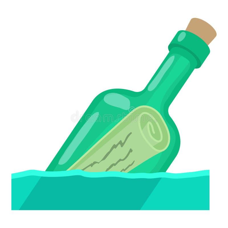 Μπουκάλι με το εικονίδιο μηνυμάτων, ύφος κινούμενων σχεδίων απεικόνιση αποθεμάτων