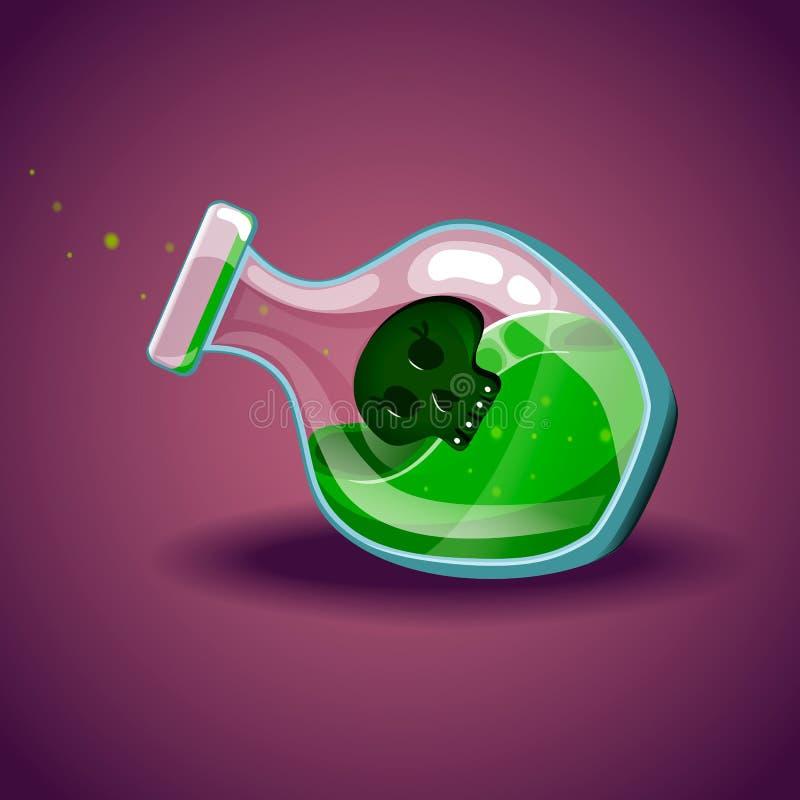 Μπουκάλι με το κρανίο, μαγικό ελιξίριο διανυσματική απεικόνιση
