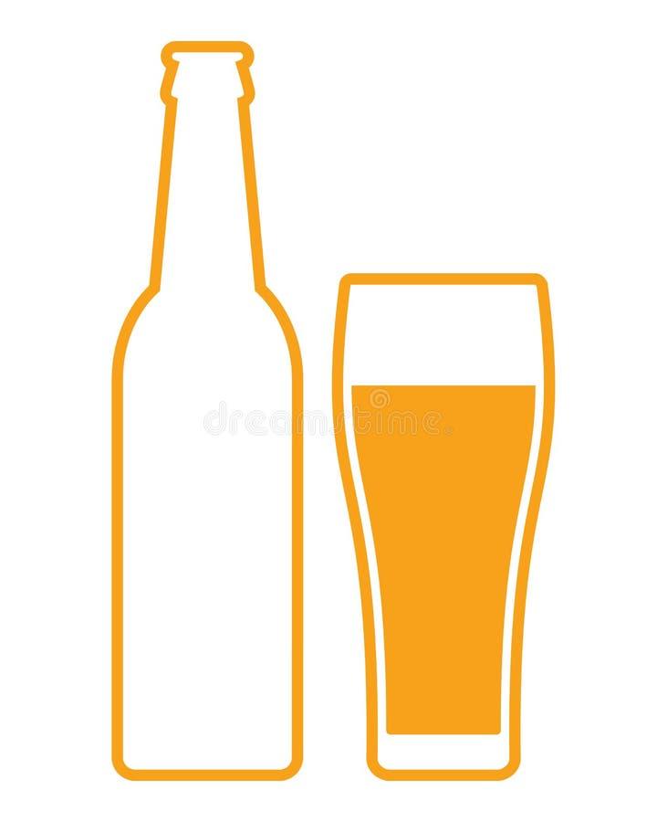 Μπουκάλι μπύρας και γυαλί διανυσματική απεικόνιση