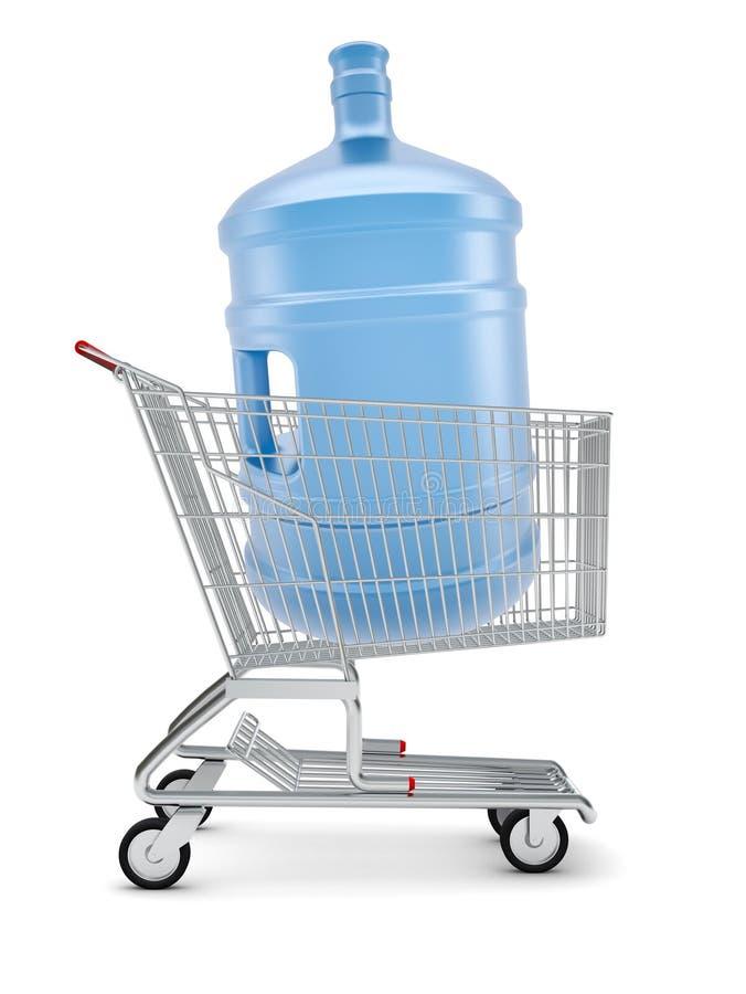 Μπουκάλι νερό στο κάρρο αγορών διανυσματική απεικόνιση