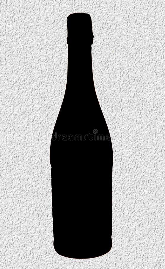 Μπουκάλι σαμπάνιας σκιαγραφιών στοκ εικόνα με δικαίωμα ελεύθερης χρήσης