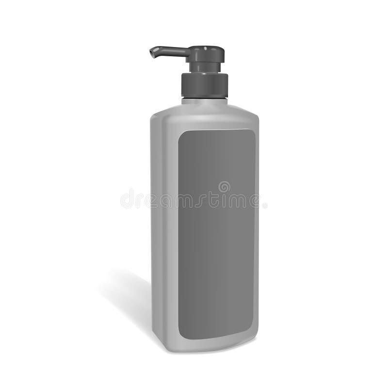 Μπουκάλι σαμπουάν με την κενή ετικέτα απεικόνιση αποθεμάτων