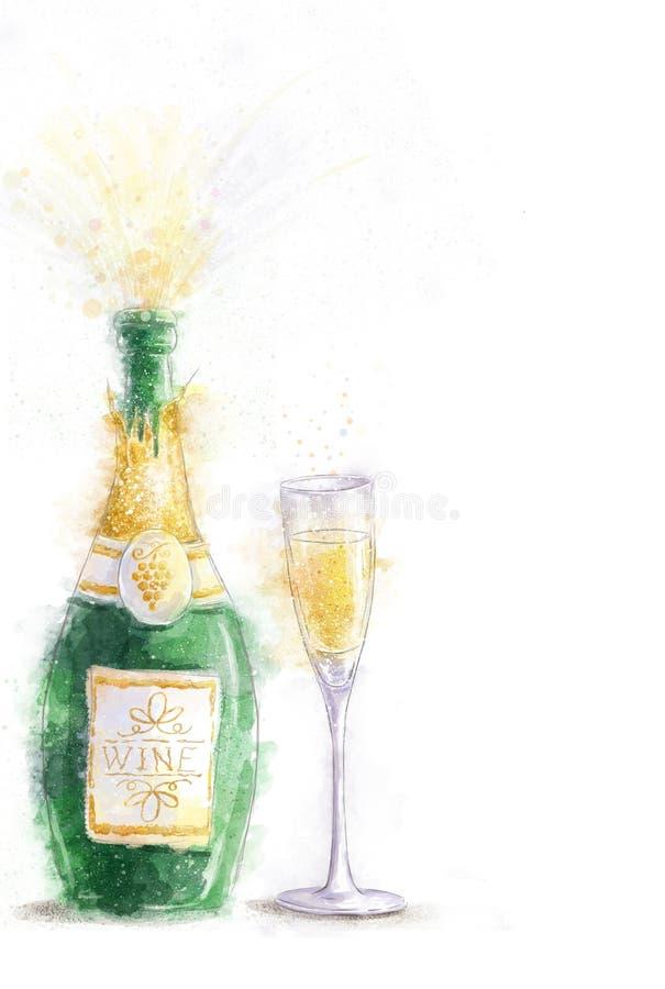 Μπουκάλι της σαμπάνιας με τους παφλασμούς στο άσπρο υπόβαθρο με το γυαλί Πρόσκληση κόμματος νέο έτος γενέθλια ευτυχή CHAMPAGNE απεικόνιση αποθεμάτων