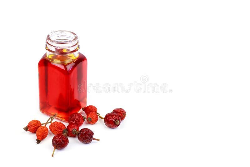 Μπουκάλι του πετρελαίου ροδαλών ισχίων στο άσπρο υπόβαθρο στοκ εικόνες