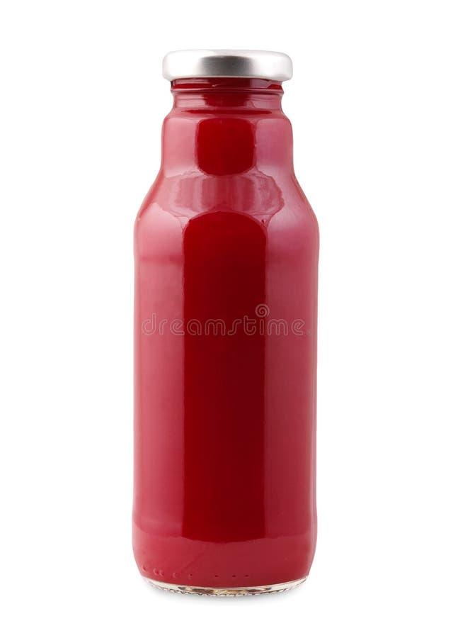 Μπουκάλι χυμού παντζαριών που απομονώνεται στο άσπρο υπόβαθρο στοκ εικόνα