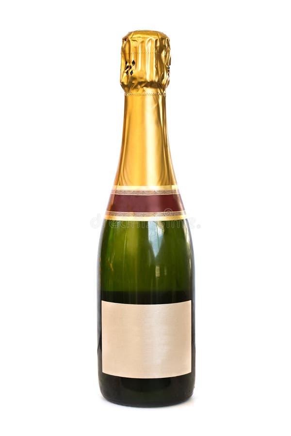 Μπουκάλι CHAMPAGNE με την κενή ετικέτα, στο άσπρο υπόβαθρο στοκ εικόνα με δικαίωμα ελεύθερης χρήσης