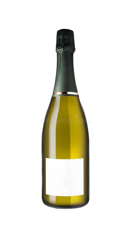 Μπουκάλι CHAMPAGNE που απομονώνεται στο άσπρο υπόβαθρο και την κενή ετικέτα στοκ φωτογραφίες με δικαίωμα ελεύθερης χρήσης