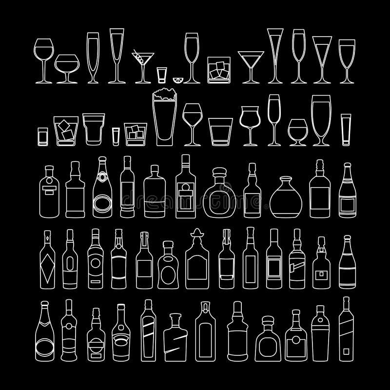 Μπουκαλιών και γυαλιών καθορισμένη διανυσματική απεικόνιση εικονιδίων γραμμών άσπρη Εορτασμός διακοπών Ποτά οινοπνεύματος στο μαύ διανυσματική απεικόνιση