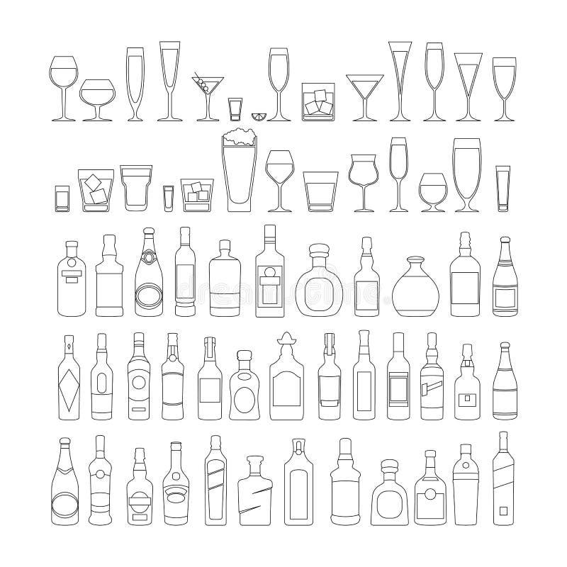 Μπουκαλιών και γυαλιών καθορισμένη διανυσματική απεικόνιση εικονιδίων γραμμών μαύρη Εορτασμός διακοπών Ποτά οινοπνεύματος στο άσπ διανυσματική απεικόνιση