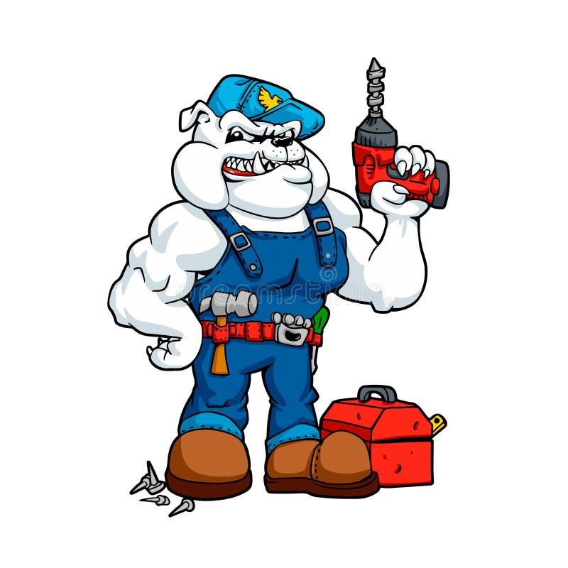 Μπουλντόγκ Handyman με το τρυπάνι διαθέσιμο και τα εργαλεία Χαρακτήρας κινουμένων σχεδίων αστείος απεικόνιση αποθεμάτων