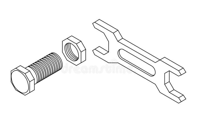 Μπουλόνι με το καρύδι και το κλειδί Σχέδιο περιλήψεων ελεύθερη απεικόνιση δικαιώματος