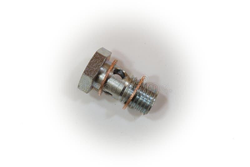 Μπουλόνι μπάντζο με τα δαχτυλίδια με σφραγιδόλιθο, τύπος που χρησιμοποιείται στην έγχυση καυσίμων στοκ φωτογραφίες