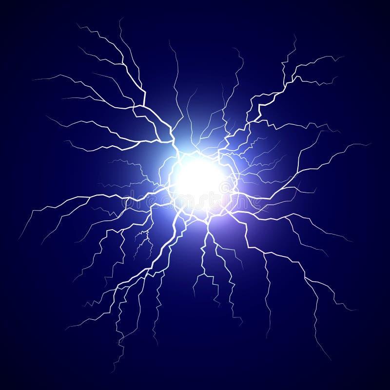 Μπουλόνι πλάσματος Βολίδα στο σκοτεινό υπόβαθρο Φως λάμψης θύελλας βροντής Ρεαλιστική αστραπή ηλεκτρικής ενέργειας r απεικόνιση αποθεμάτων