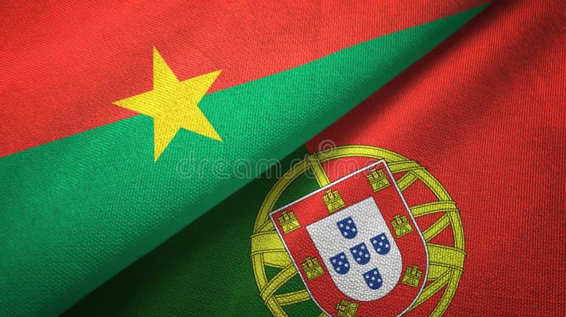 Μπουρκίνα Φάσο και Πορτογαλία δύο υφαντικό ύφασμα σημαιών, σύσταση υφάσματος διανυσματική απεικόνιση