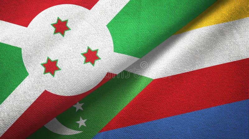 Μπουρούντι και Κομόρες δύο υφαντικό ύφασμα σημαιών, σύσταση υφάσματος διανυσματική απεικόνιση