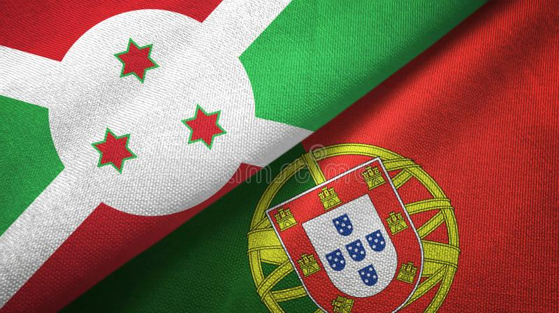 Μπουρούντι και Πορτογαλία δύο υφαντικό ύφασμα σημαιών, σύσταση υφάσματος απεικόνιση αποθεμάτων