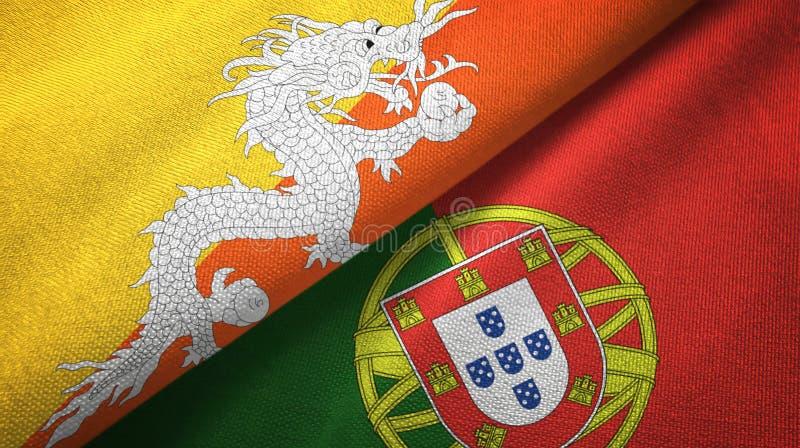 Μπουτάν και Πορτογαλία δύο υφαντικό ύφασμα σημαιών, σύσταση υφάσματος διανυσματική απεικόνιση