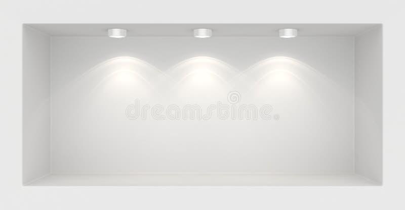 Μπουτίκ στον τοίχο με τις πηγές φωτός στοκ φωτογραφία