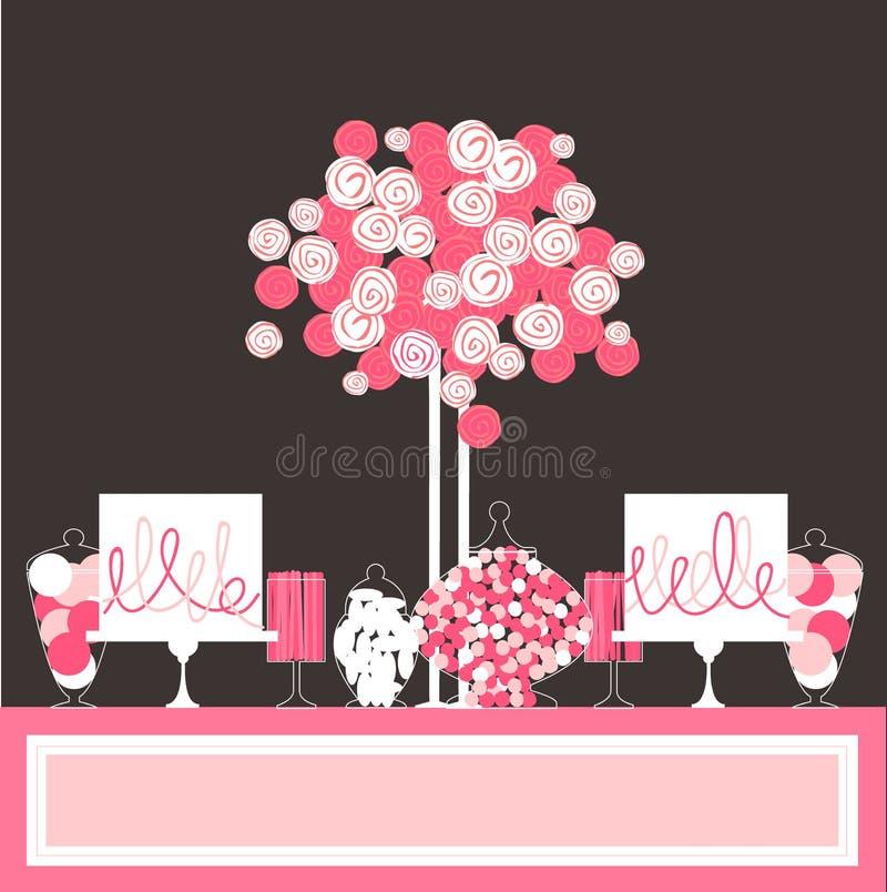 Μπουφές καραμελών με το κέικ και τα λουλούδια διανυσματική απεικόνιση