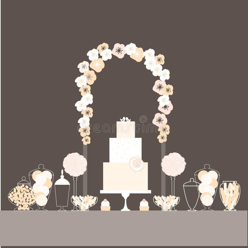 Μπουφές καραμελών με το κέικ και τα πουλιά διανυσματική απεικόνιση