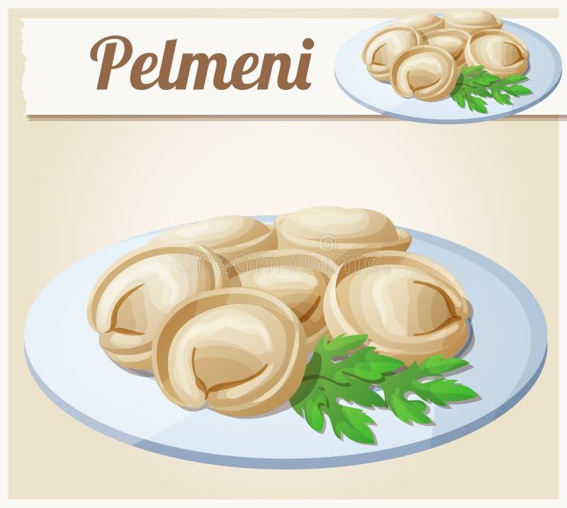 Μπουλέττες κρέατος Pelmeni Διανυσματικό εικονίδιο κινούμενων σχεδίων ελεύθερη απεικόνιση δικαιώματος