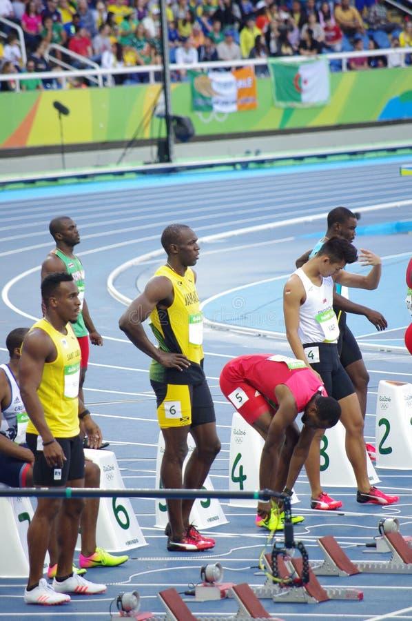 Μπουλόνι Usain στη γραμμή έναρξης 100m στους Ολυμπιακούς Αγώνες Rio2016 στοκ φωτογραφία με δικαίωμα ελεύθερης χρήσης