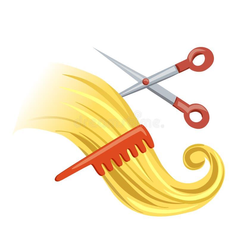 Μπούκλα με τη βούρτσα γηα τα μαλλιά και το ψαλίδι ελεύθερη απεικόνιση δικαιώματος