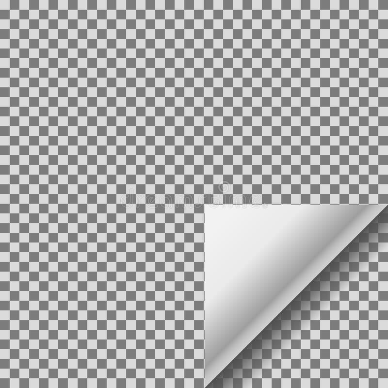 Μπούκλα σελίδων με την άσπρη διαφανή κατσαρωμένη γωνία ελεύθερη απεικόνιση δικαιώματος