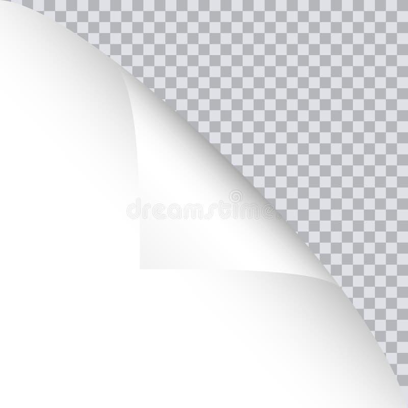 Μπούκλα σελίδων με τη σκιά στο κενό φύλλο του εγγράφου ελεύθερη απεικόνιση δικαιώματος