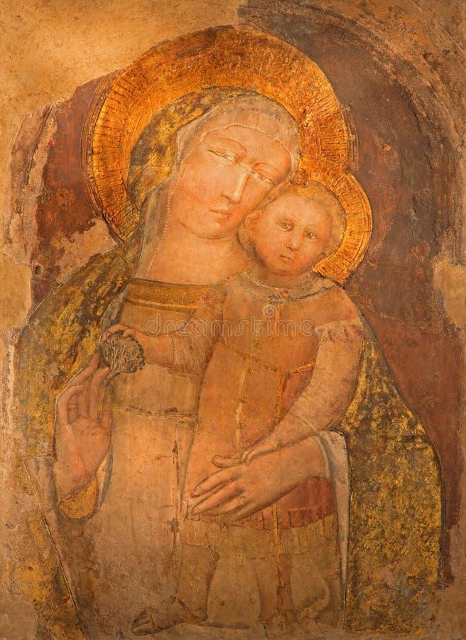 Μπολόνια - νωπογραφία Madonna από το romanic ST Stephen ή των εκκλησιών Santo Stefano σύνθετων στοκ εικόνες