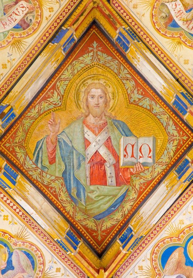 Μπρατισλάβα - νωπογραφία του Ιησούς Χριστού από το γοτθικό δευτερεύον παρεκκλησι του ST Ann από το Carl Jobst από. το σεντ 19. στο στοκ φωτογραφίες με δικαίωμα ελεύθερης χρήσης