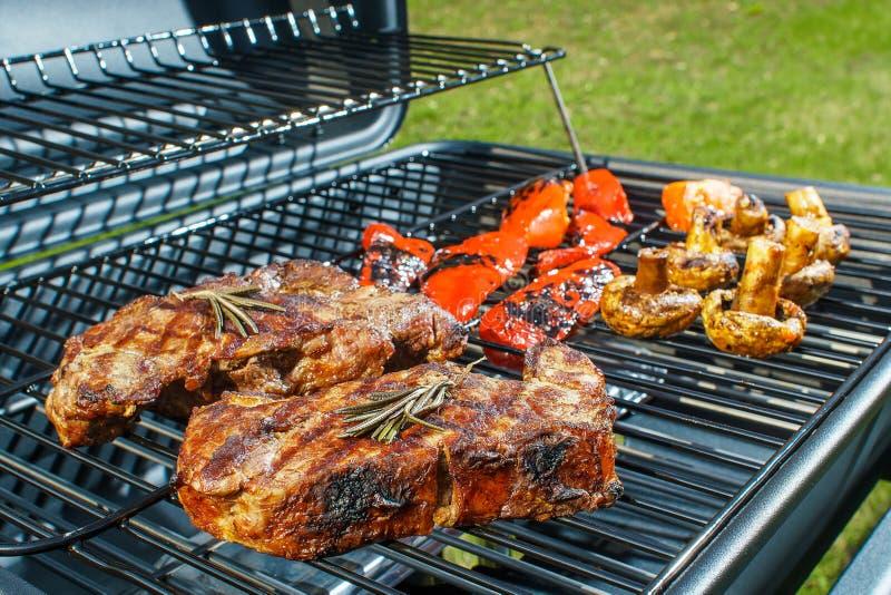 Μπριζόλα βόειου κρέατος και ψημένα στη σχάρα λαχανικά στη φύση στοκ φωτογραφία με δικαίωμα ελεύθερης χρήσης