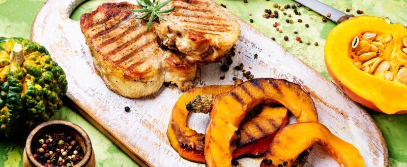 Μπριζόλα κρέατος με την κολοκύθα στοκ εικόνα με δικαίωμα ελεύθερης χρήσης