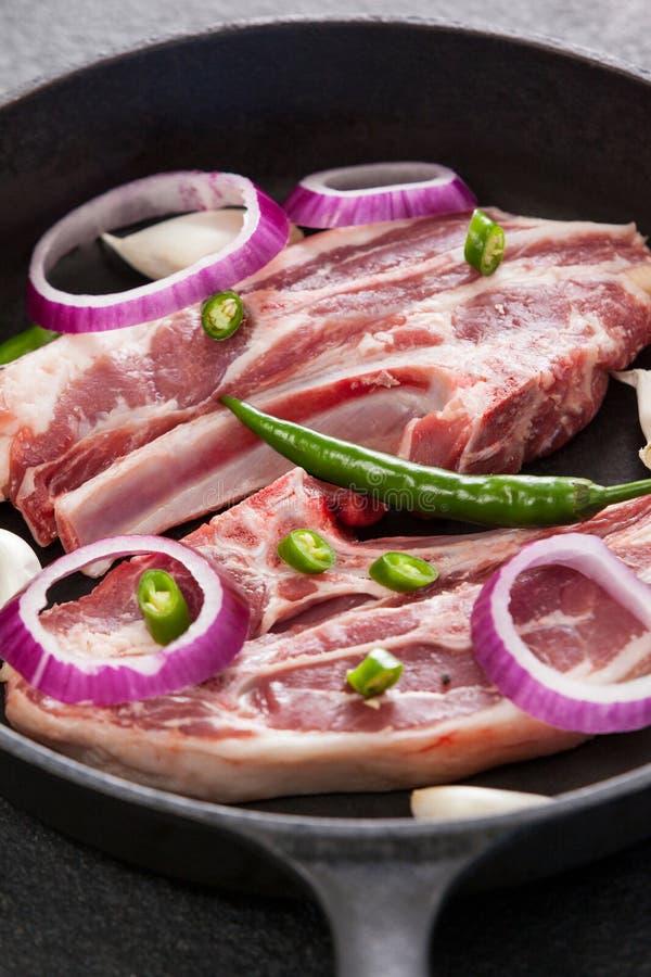 Μπριζόλα λεπίδων στο τηγάνισμα του τηγανιού στοκ φωτογραφίες